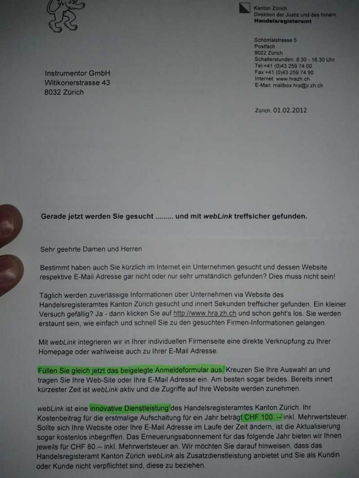 Tolles Angebot des Zürcher Handelsregisteramts