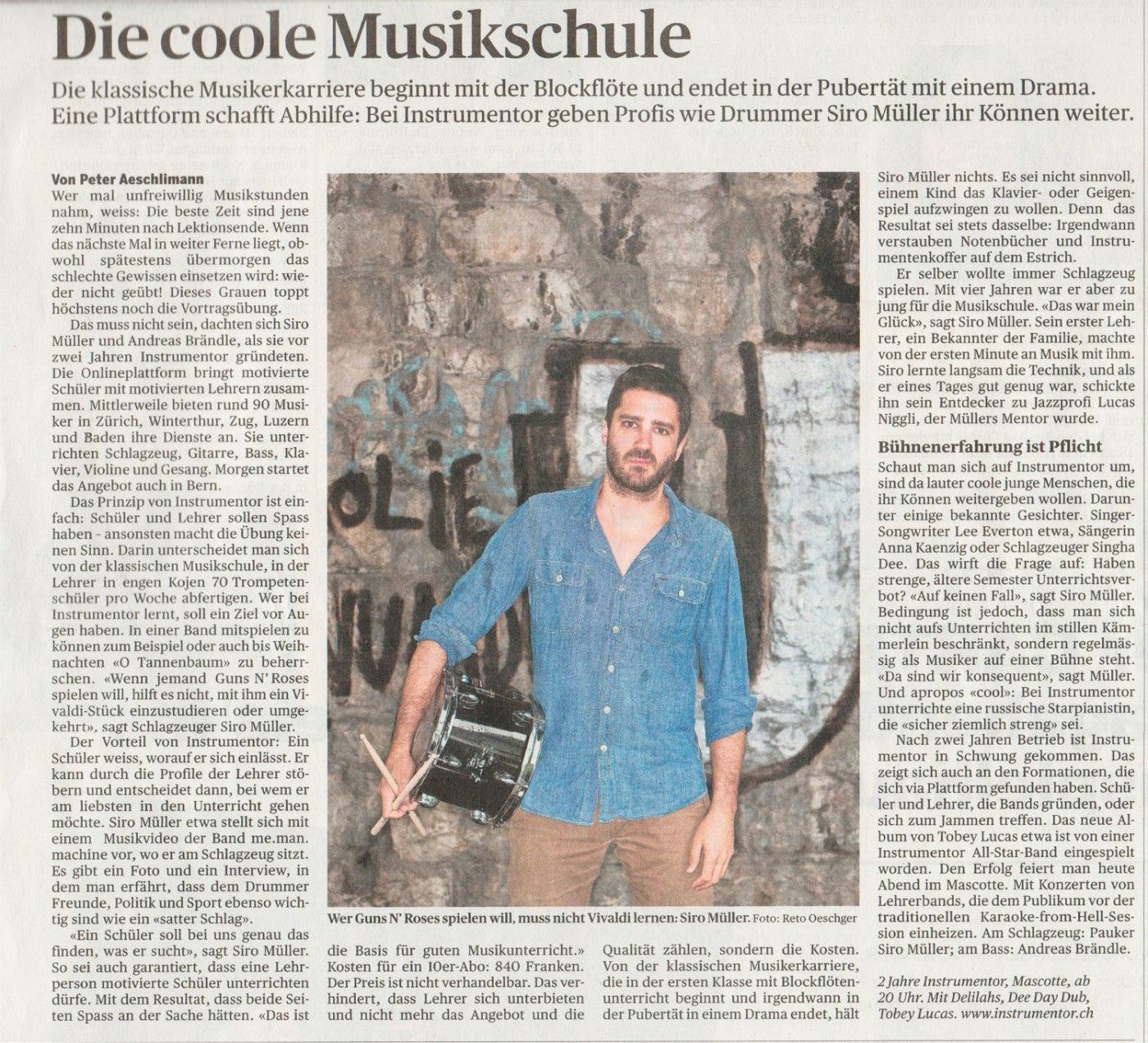"""Instrumentor im Tagesanzeiger: """"Die coole Musikschule"""""""